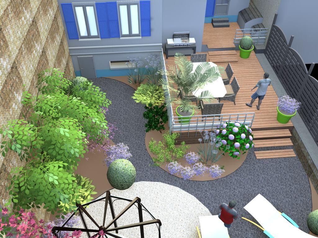 Jardin avec terrasse sur pilotis for Jardin avec terrasse